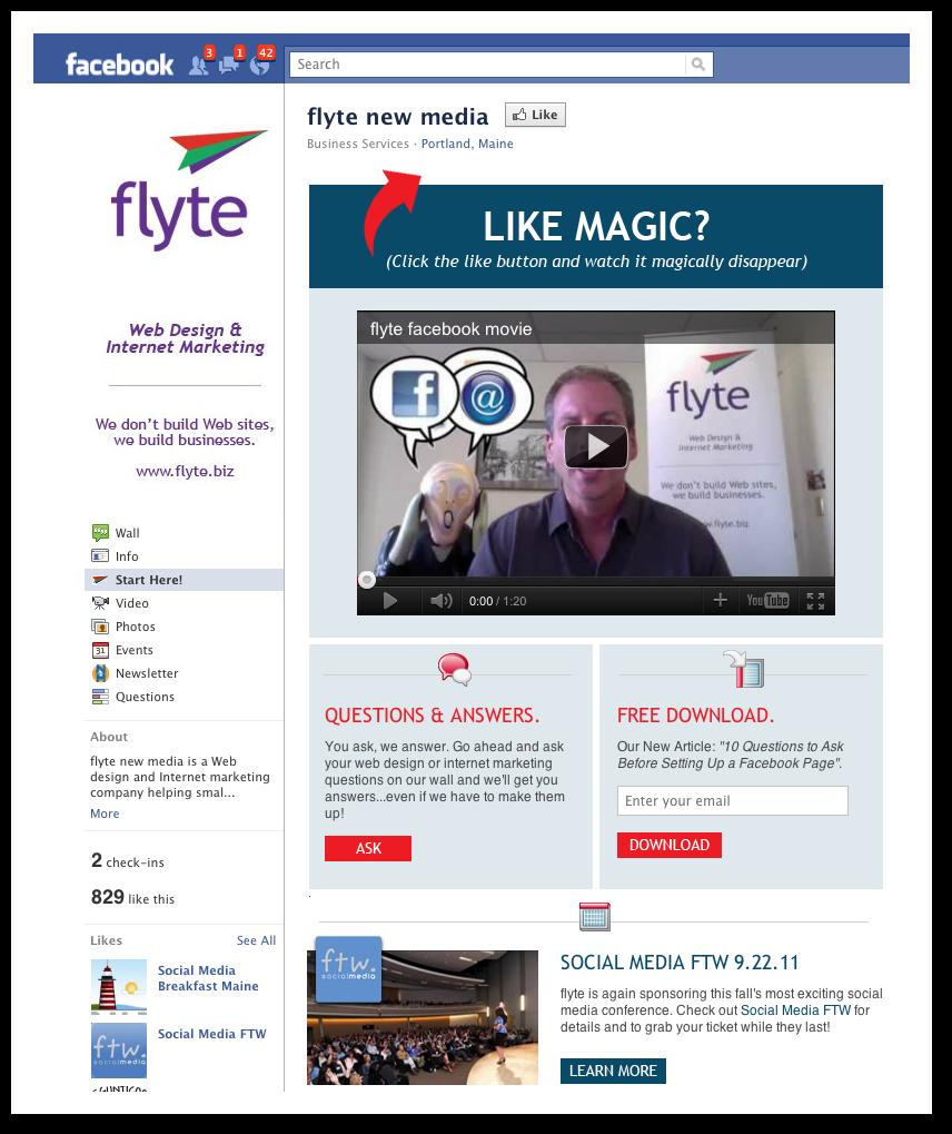 Flyte's Facebook Landing Page