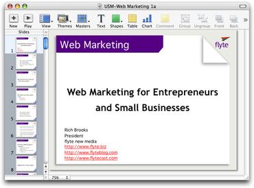 Web Marketing Keynote Presentation
