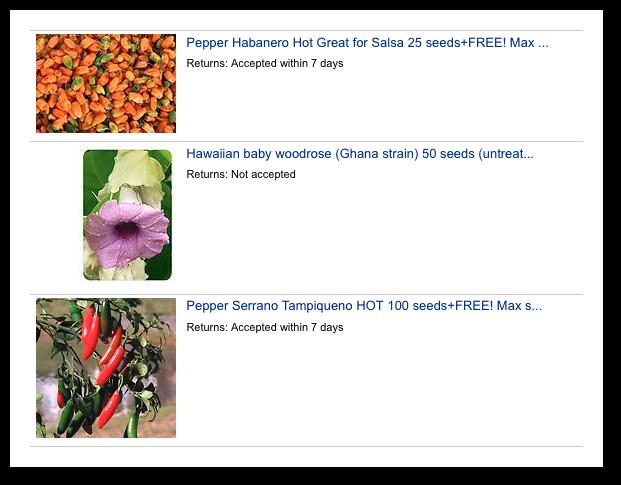 Seeds on eBay