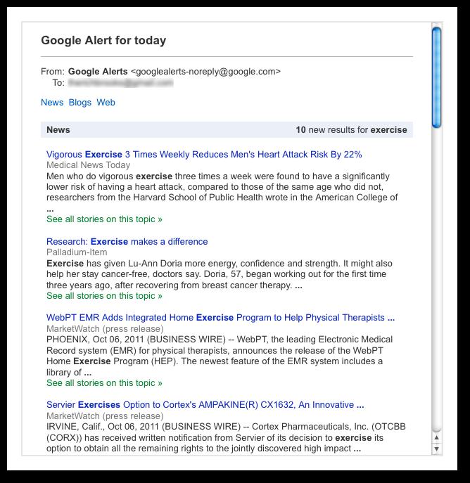Google Alert for Exercise