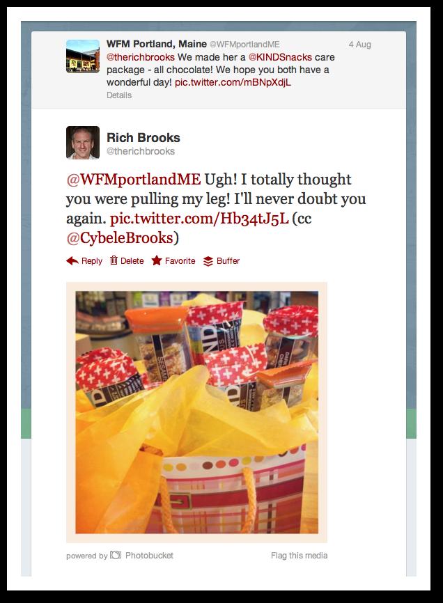 Whole Foods Follow Up Tweet