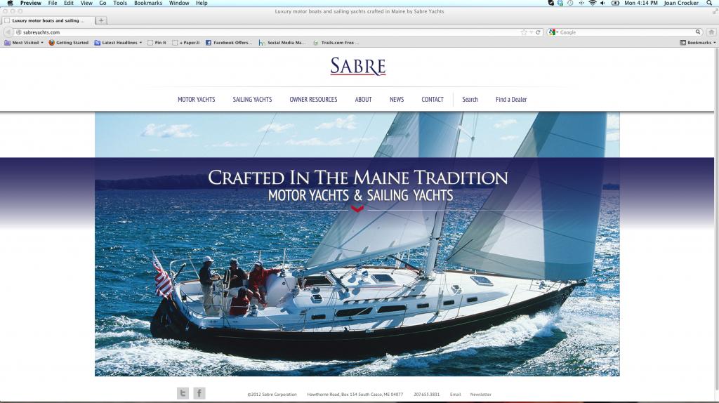 Sabre yachts Website
